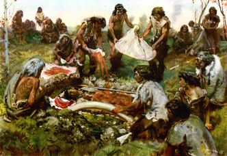 Burial ceremony of mammoth hunters