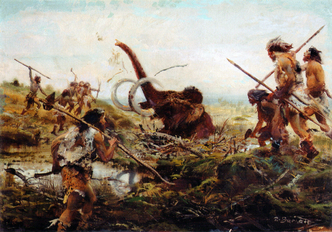 Mammoth hunt in the swamp