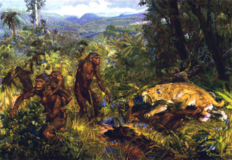 Pithecanthropus: saber-toothed cat attack