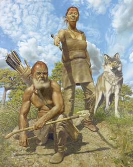 Ice Age hunters. Reconstruction based on Bonn-Oberkassel discovery. 15 000 years before present